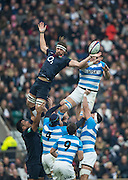 Twickenham, United Kingdom. Line Out, {L}, Tom WOOD and {R} Matias ALEMANNO, during the Old Mutual Wealth Series Rest Match: England vs Argentina, at the RFU Stadium, Twickenham, England, <br /> <br /> Saturday  26/11/2016<br /> <br /> [Mandatory Credit; Peter Spurrier/Intersport-images]