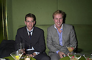 Tom Parker-Bowles and Simon Mills. Lady Victoria Hervey party. Saint Martins Lane Hotel. 12 December 2000 © Copyright Photograph by Dafydd Jones 66 Stockwell Park Rd. London SW9 0DA Tel 020 7733 0108 www.dafjones.com