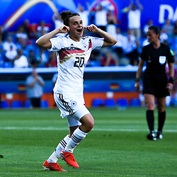 Lina Magull of Germany celebrates his scoring during the Women's World Cup match between Germany and South Africa at Stade de la Mosson on June 17, 2019 in Montpellier, France. (Photo by Alexandre Dimou/Icon Sport)