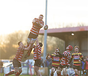 Llandovery's second row Joe Powell mistimes his jump.<br /> <br /> Photographer: Dan Minto<br /> <br /> Indigo Welsh Premiership Rugby - Round 12 - Llandovery RFC v Carmarthen Quins RFC - Saturday 28th December 2019 - Church Bank, Llandovery, South Wales, UK.<br /> <br /> World Copyright © Dan Minto Photography<br /> <br /> mail@danmintophotography.com <br /> www.danmintophotography.com
