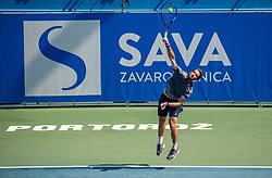 Constant Lestienne (FRA) in action during Day 5 at ATP Challenger Zavarovalnica Sava Slovenia Open 2018, on August 7, 2018 in Sports centre, Portoroz/Portorose, Slovenia. Photo by Vid Ponikvar / Sportida