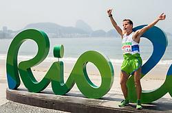 Blind runner Sandi Novak of Slovenia celebrates after the Men's Marathon - T12 Final during Day 11 of the Rio 2016 Summer Paralympics Games on September 18, 2016 in Copacabana beach, Rio de Janeiro, Brazil. Photo by Vid Ponikvar / Sportida
