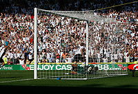 Photo: Steve Bond. <br />Derby County v Portsmouth. Barclays Premiership. 11/08/2007. Andy Todd turns to celebrate as David James lies beaten