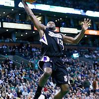 30 January 2013: Sacramento Kings point guard Tyreke Evans (13) goes for the dunk during the Boston Celtics 99-81 victory over the Sacramento Kings at the TD Garden, Boston, Massachusetts, USA.