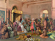 Columbus at the Court of Barcelona' before Ferdinand II of Aragon and Isabella of Castile on his return from his first voyage to the New World, February 1493, presenting treasures and Native Americans. Chromolithograph 1893.