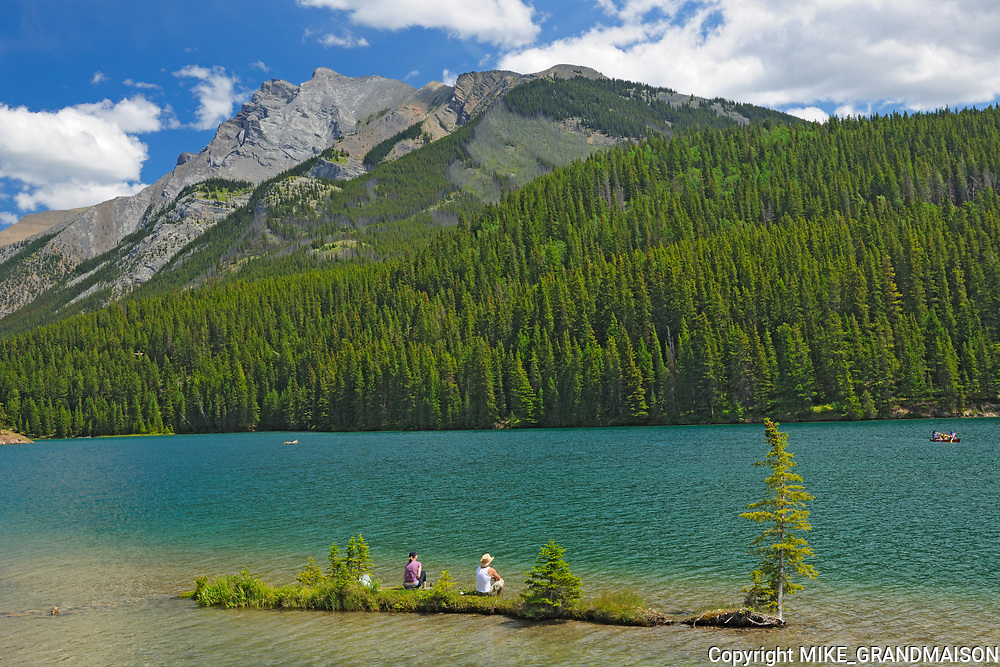 Sitting on island in Two Jack Lake in the Rocky Mountains<br />