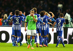 Football: Germany, 1. Bundesliga<br /> Ricardo Rodriguez (VfL Wolfsburg) looks dejected after Hertha BSC Berlin scored