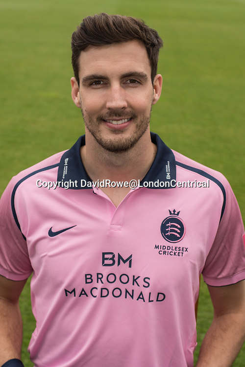 11 April 2018, London, UK.  Steve Finn of Middlesex County Cricket Club in the   pink Vitality T20 kit . David Rowe/ Alamy Live News