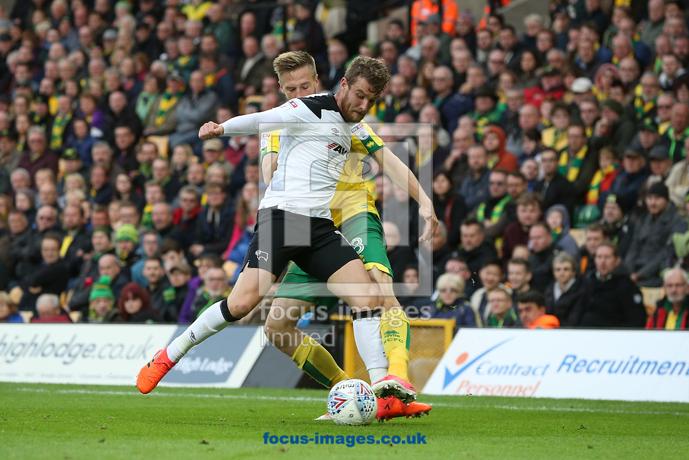 Johnny Russell of Derby County and Marco Stiepermann of Norwich in action during the Sky Bet Championship match at Carrow Road, Norwich<br /> Picture by Paul Chesterton/Focus Images Ltd +44 7904 640267<br /> 28/10/2017