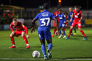 AFC Wimbledon defender Paul Osew (37) dribbling into box during the Leasing.com EFL Trophy match between AFC Wimbledon and Leyton Orient at the Cherry Red Records Stadium, Kingston, England on 8 October 2019.