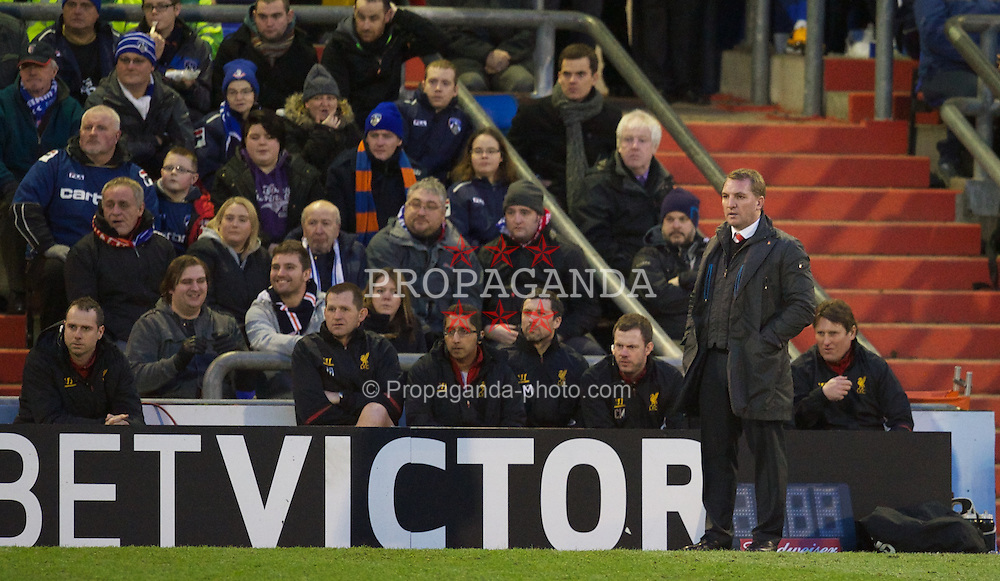 OLDHAM, ENGLAND - Sunday, January 27, 2013: Liverpool's manager Brendan Rodgers during the FA Cup 4th Round match against Oldham Athletic at Boundary Park. (Pic by David Rawcliffe/Propaganda)