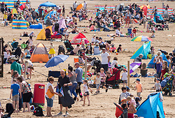 © Licensed to London News Pictures. 22/06/2019. Weston-super-Mare, North Somerset, UK. The Battle of Britain Memorial Flight at Weston Air Festival taking place over the weekend of 22 and 23 June in Weston Bay with crowds watching from the beach and seafront. Photo credit: Simon Chapman/LNP.