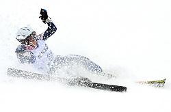 Elina Niemi of Finland crashed at FIS Telemark World Cup Kobla 2009 race,  on January 18, 2009, in Kobla, Bohinj, Slovenia.  (Photo by Vid Ponikvar / Sportida)