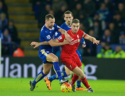 LEICESTER, ENGLAND - Monday, February 1, 2016: Liverpool's captain Jordan Henderson in action against Leicester City's Danny Drinkwater during the Premier League match at Filbert Way. (Pic by David Rawcliffe/Propaganda)