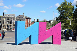 Norwich & Norfolk Festival sign outside The Forum, Norwich UK May 2019
