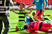 Forest Green Rovers Charlie Cooper(20) celebrates at full time during the Vanarama National League Play Off Final match between Tranmere Rovers and Forest Green Rovers at Wembley Stadium, London, England on 14 May 2017. Photo by Adam Rivers.