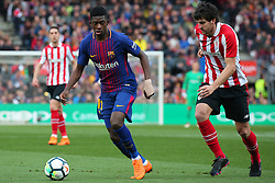 March 18, 2018 - Barcelona, Spain - Ousmane Dembele and San Jose during the match between FC Barcelona and Athletic Club, played at the Camp Nou Stadium on 18th March 2018 in Barcelona, Spain. (Credit Image: © Joan Valls/NurPhoto via ZUMA Press)