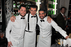 Left to right, Tristan Stephenson, Co-Owner of Purl, Worship Street Whistling; Erik Lorincz, World Class Bartender Champion, and Diego Cabrera, Head Bartender at Le Cabrera in Madrid at the opening of the 'pop up' Tanqueray Gin Palace hosted by Idris Elba at 13 Floral Street, Covent Garden, London on 26th March 2013.
