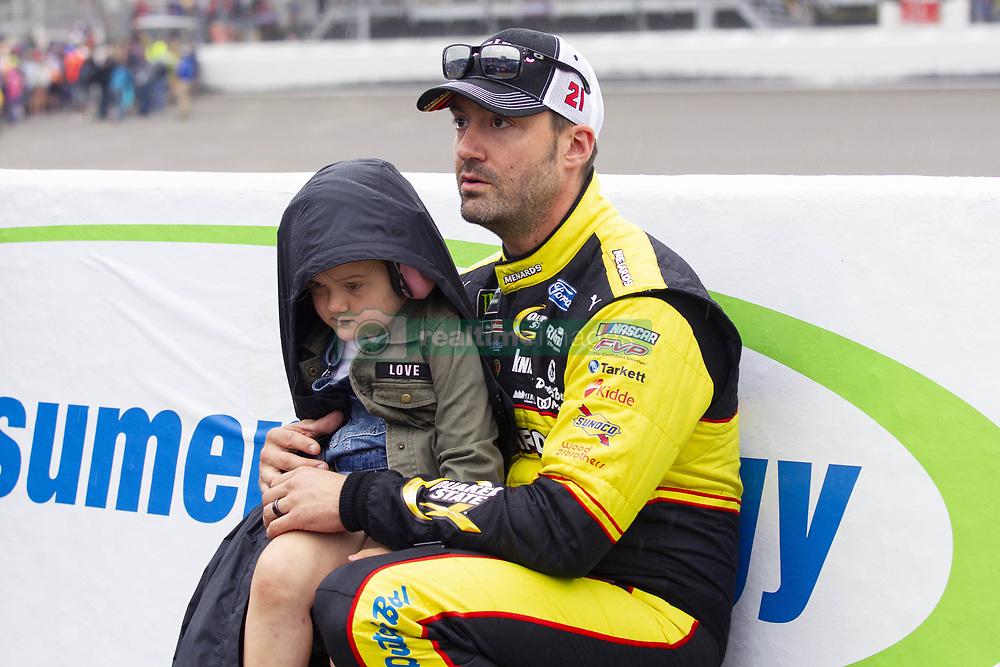 June 10, 2018 - Brooklyn, Michigan, U.S - NASCAR driver PAUL MENARD (21) waits for the rain to clear up at Michigan International Speedway. (Credit Image: © Scott Mapes via ZUMA Wire)