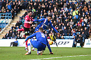 Gillingham forward Dominic Samuel misses a chance for Gillingham during the Sky Bet League 1 match between Gillingham and Peterborough United at the MEMS Priestfield Stadium, Gillingham, England on 23 January 2016. Photo by David Charbit.