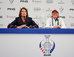 Auchterarder, Scotland, UK. 12 September 2019. Press conference with captain of Team Europe, Catriona Matthew and Team USA, Juli Inkster, to announce the pairings for the Friday Foursomes matches at the 2019 Solheim Cup. Pictured; Iain Masterton/Alamy Live News