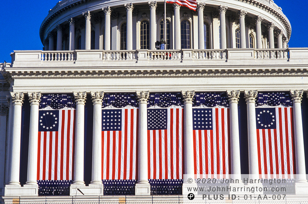 The Capitol Building decorated for a presidential Inauguration.
