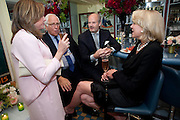 CHRISTY FERER; SIR EVELYN DE ROTHSCHILD; HARRY FANE; LADY LYNN FORRESTER DE ROTHSCHILD, An exhibition of watercolours by William Rayner at Mallet's, New Bond St. Party afterwards at Bellami's, bruton Place. London. 16 June 2010. .-DO NOT ARCHIVE-© Copyright Photograph by Dafydd Jones. 248 Clapham Rd. London SW9 0PZ. Tel 0207 820 0771. www.dafjones.com.