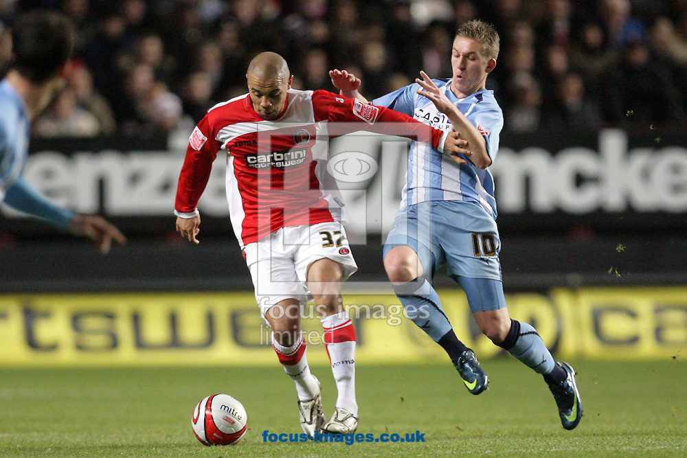 London - Tuesday December 8th, 2008: Deon Burton (L) of Charlton Athletic in action against Freddy Eastwood (R) of Coventry City during the Coca Cola Championship match at The Valley, London. (Pic by Mark Chapman/Focus Images)