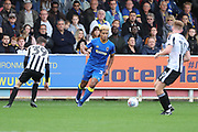 AFC Wimbledon striker Lyle Taylor (33) dribbling during the EFL Sky Bet League 1 match between AFC Wimbledon and Rochdale at the Cherry Red Records Stadium, Kingston, England on 30 September 2017. Photo by Matthew Redman.