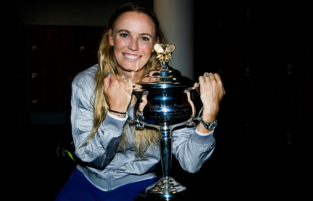 Caroline Wozniacki of Denmark after winning the women's singles championship match during the 2018 Australian Open on day 13 in Melbourne, Australia on Saturday afternoon January 27, 2018.<br /> (Ben Solomon/Tennis Australia)