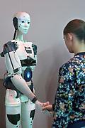 Nederland, the Netherlands, Eindhoven, 22-10-2017Tijdens de Dutch designweek kan het publiek op Strijp bij het Klokgebouw, het eindexamenwerk zien van de studenten van de designacademie. Projecten van alle afgestudeerden van Design Academy. Ook is er een beurs met innovatieve producten en ideeen. Alles is te zien in o.a de oude fabrieken van Philips, het industrieel erfgoed van de stad. Ook veel aandacht voor robotisering, privacy issues en big data toepassingen. Hiet zitten veel startups, jonge bedrijfjes die iets nieuws in de markt willen zetten.FOTO: FLIP FRANSSEN