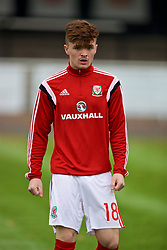 MERTHYR TYDFIL, WALES - Thursday, November 2, 2017: Wales' Callum Flynn during the pre-match warm-up before an Under-18 Academy Representative Friendly match between Wales and Newport County at Penydarren Park. (Pic by David Rawcliffe/Propaganda)