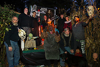 Bruce Perkins(center back row) along with some of his cast of characters get ready for any evening of fright in the Haunted House in Hill.  (l-r front row) Mike Perkins, Walter Waring, Jeff Perkins and Mark Haskell.  (l-r back row) Tara Carey, Tim Ambrose, Bruce Perkins, Jacob Brown, Broderick Edwards.   (Karen Bobotas/for the Laconia Daily Sun)