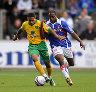 Carlisle - Saturday October 10th, 2008: Joe Anyinsah (R) of Carlisle United and Korey Smith of Norwich City during the Coca Cola League One match at Brunton Park, Carlisle. (Pic by Jed Wee/Focus Images)..