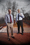 Ronald Smith (red tie) and Frank Smoll (blue tie), photographed at UW softball field, for APA Monitor Magazine.  2010-02-10