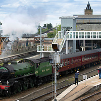 'Mayflower' pictured as she leaves Perth railway station heading south after the Steam Dreams' Highlands & Islands Explorer tour of Scotland….13.05.19<br />