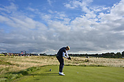 Thomas Plumb (GB&I) plays from the fifth tee during the Sunday Foursomes in the Walker Cup at the Royal Liverpool Golf Club, Sunday, Sept 8, 2019, in Hoylake, United Kingdom. (Steve Flynn/Image of Sport)