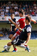 Picture by David Horn/Focus Images Ltd +44 7545 970036.18/08/2012.Luke Prosser (right) of Southend United and Ryan Hall of Accrington Stanley during the npower League 2 match at Roots Hall, Southend.
