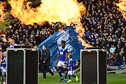 The teams enter the pitch to a fiery welcomeduring the EFL Sky Bet Championship match between Birmingham City and Aston Villa at St Andrews, Birmingham, England on 10 March 2019.