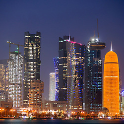 Evening view of modern skyscrapers in new  business district of Doha in Qatar