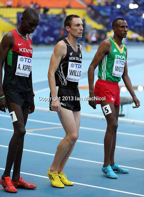 MOSCOW, RUSSIA - AUGUST 14: Nicholas Willis of New Zealand competes in the Men's 1500m heats during Day Five of the 14th IAAF World Athletics Championships Moscow 2013 at Luzhniki Stadium on August 13, 2014 in Moscow, Russia. Nick Willis (Photo by Ian MacNicol)