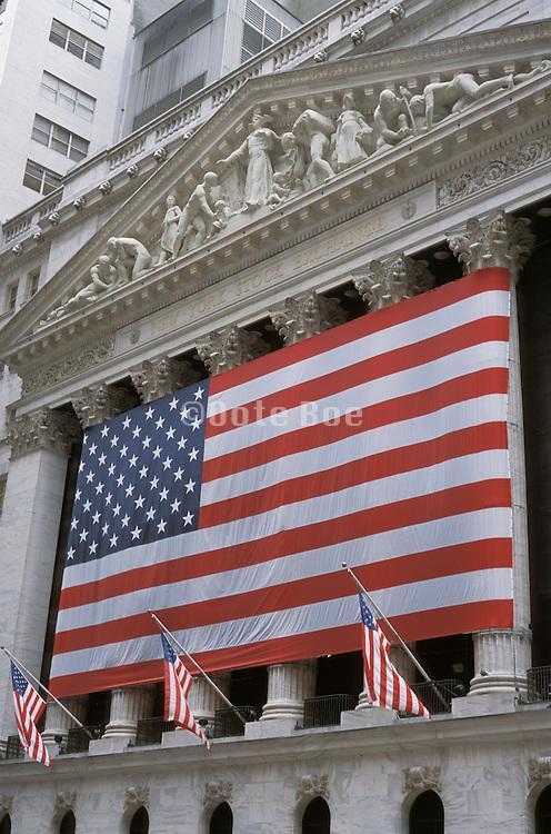 Big American flag hung on the NY Stock Exchange