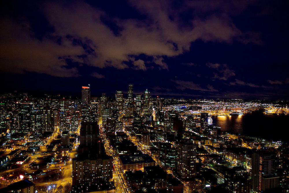 Downtown Seattle seen from the Space Needle on Saturday, April 5, 2014.