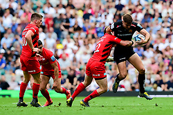 Ollie Devoto of Exeter Chiefs is tackled by Nick Tompkins of Saracens - Mandatory by-line: Ryan Hiscott/JMP - 01/06/2019 - RUGBY - Twickenham Stadium - London, England - Exeter Chiefs v Saracens - Gallagher Premiership Rugby Final