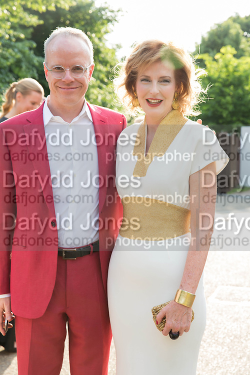 HANS ULRICH OBRIST; JULIA PEYTON-JONES, The Serpentine Summer Party 2013 hosted by Julia Peyton-Jones and L'Wren Scott.  Pavion designed by Japanese architect Sou Fujimoto. Serpentine Gallery. 26 June 2013. ,