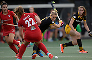 Den Bosch's Sian Keil prepares to shoot at goal against Monkstown during their opening game of the EHCC 2017 at Den Bosch HC, The Netherlands, 2nd June 2017