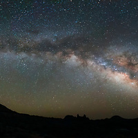 7 image panorama view of Milky Way bending over Mule Ears Peak, Big Bend National Park, Texas. All images at ISO 6400, 14 mm, f/2.8 for 25 sec. Processed in Lightroom and Photoshop