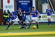 Carlisle United Forward Jabo Ibehre battling in the midfield during the Sky Bet League 2 match between Carlisle United and Portsmouth at Brunton Park, Carlisle, England on 21 November 2015. Photo by Craig McAllister.