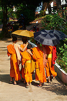 Laos, Province de Luang Prabang, ville de Luang Prabang, Patrimoine mondial de l'UNESCO depuis 1995, moines novices / Laos, Province of Luang Prabang, city of Luang Prabang, World heritage of UNESCO since 1995, novice monk