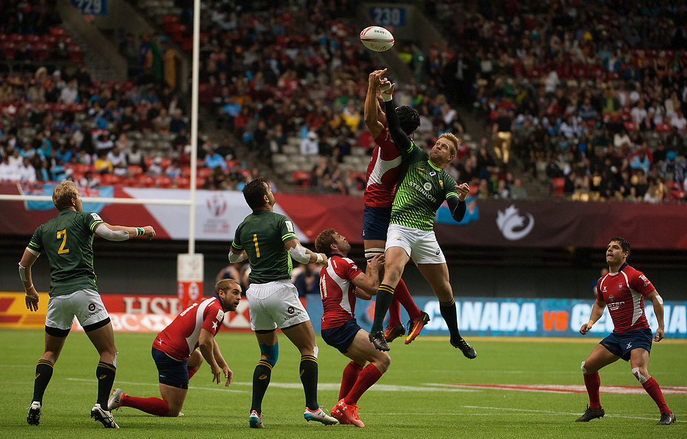 Werner Kok of South Africa leaps for a high ball against Chile during the pool stages of the Canada Sevens,  Round Six of the World Rugby HSBC Sevens Series in Vancouver, British Columbia, Saturday March 11, 2017. <br /> <br /> Jack Megaw.<br /> <br /> www.jackmegaw.com<br /> <br /> jack@jackmegaw.com<br /> @jackmegawphoto<br /> [US] +1 610.764.3094<br /> [UK] +44 07481 764811
